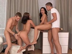 Sexy Russian Coeds In Hot Foursome Action