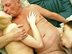 Amateur Babes Sucking And Fucking Missionary With Old Mans Cock